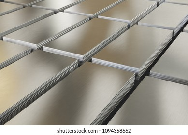 Steel sheets. Piles of steel metal in stock. 3d illustration.
