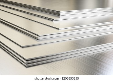 Steel sheets in warehouse, rolled metal product. 3d illustration.