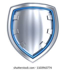 Steel shield only, isolated. Protection symbol. 3d illustration