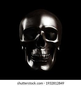 Steel skull, isolated with clipping path. 3d illustration