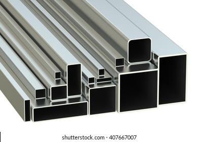 steel square tubes concept, rolled metal. 3D rendering
