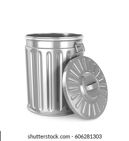 Steel trash can isolated on white. 3d illustration