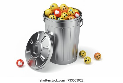 Steel trash can with smile isolated on white background. 3D illustration