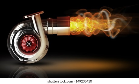 Steel turbocharger with fire isolated on black background. High resolution 3d render