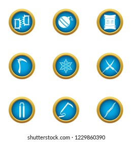 Steel weapon icons set. Flat set of 9 steel weapon icons for web isolated on white background