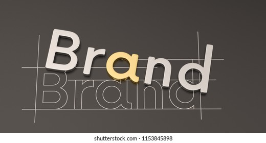 Steel word brand on black background brand concept design 3D illustration.
