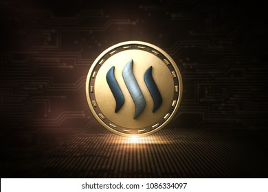 Steem - STEEM - 3D Cryptocurrency Coin  - Front View