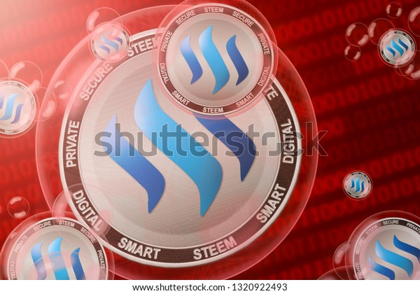 Steem crash; Steem coins in a bubbles on the binary code background. Close-up. 3d illustration