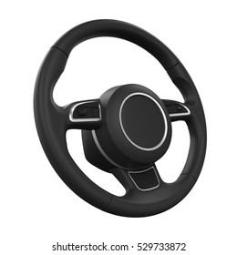 Steering Wheel Isolated. 3D rendering