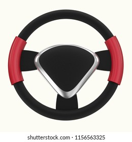 Steering wheel, isolated on the white background 3d rendering