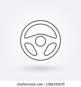 Steering wheel outline icon. Car rudder line sign. Driver and drive logo.