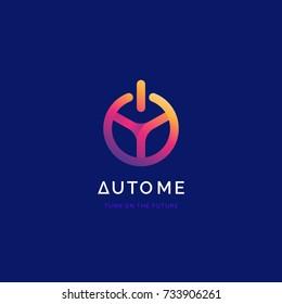 Steering wheel with power button logo. Driverless car symbol. Driving school logo.