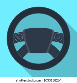 Steering wheel single icon in flat style for design.Car maintenance station raster, bitmap symbol stock illustration web.