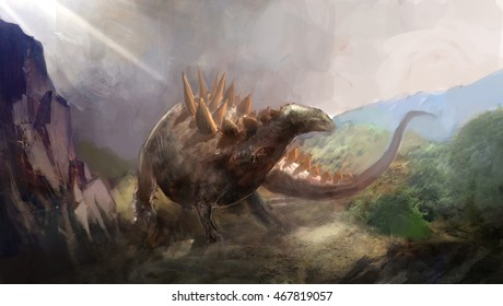 stegosaurus the dinosaurs from the past