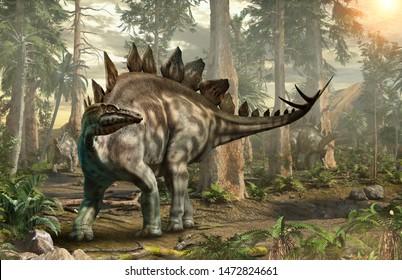 Stegosaurus forest scene 3D illustration