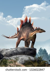 Stegosaurus, was a thyreophoran dinosaur. An herbivore, it is one of the best known dinosaurs of the Jurassic period. Here, a grey and brown one is standing on a pile of boulders. 3D Rendering.