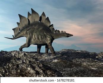 Stegosaurus marchant sur la colline au coucher du soleil - rendu 3D