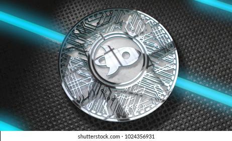 Stellar coin XLM blockchain cryptocurrency altcoin 3D Render.