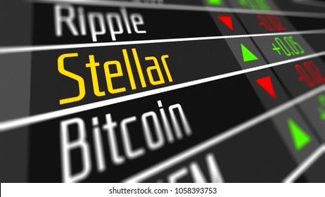 Stellar cryptocurrency market. Trading on the virtual currency exchange 3D illustration.