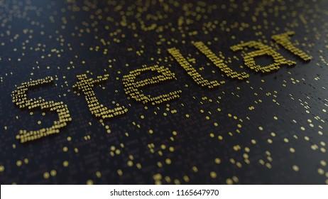 Stellar word made of golden numbers. 3d rendering