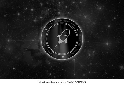 Stellar (XLM) digital crypto currency. Black coin in space among the stars. Cyber money. 3D Render.
