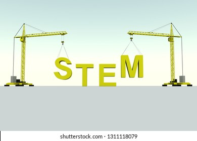 STEM building concept crane white background 3d illustration