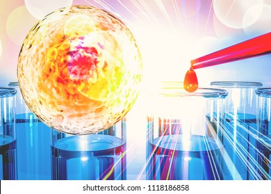stem cells research concept. Cell culture for the biomedical diagnostic Immunotherapy, Regeneration , Disease treatment, Embryonic stem cells , Cellular therapy , 3d rendering
