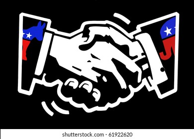 stencil drawing white on black painted wall of a handshake with democratic donkey and republican elephant color mascots