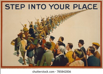 STEP INTO YOUR PLACE, reads a British World War 1 recruiting poster, 1915. A column of soldiers marches into the distance, are joined by men in civilian attire that identifies their various occupation