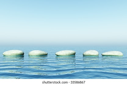 step stones in the sea