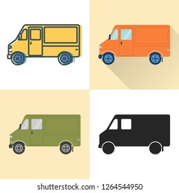 Step van food truck icon set in flat and line styles. Walk-in delivery vehicle illustration. Multi-stop transportation symbol isolated on white.