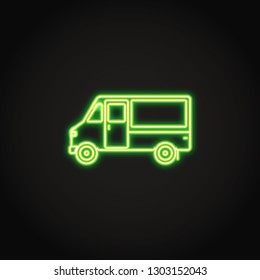 Step van truck neon icon in line style. Shining cargo vehicle concept symbol on dark background. Freight transportation sign.