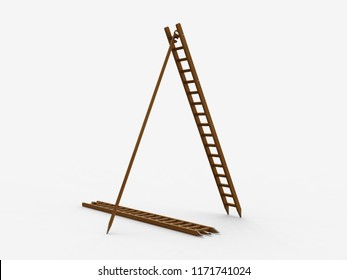 Stepladder, Leonardo da Vinci, Codex Forster II, 0045v. 3D model.
