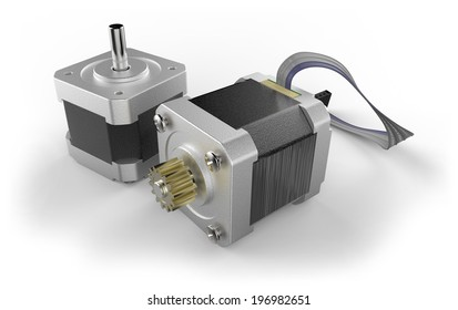 Stepper electric motor isolated on white