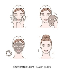 Steps how to apply facial mask. line illustrations set isolated  on white background.