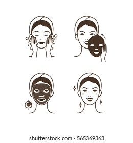 Steps how to apply facial mask. Isolated illustrations set.