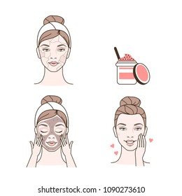 Steps how to make facial peeling. Beauty and fashion illustration isolated on white background.