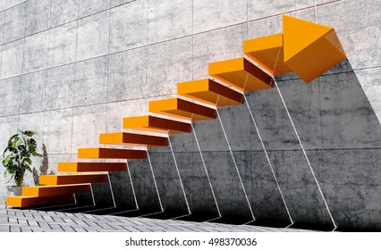 Steps to move forward to next level, success concept, orange staircase with arrow sign and concrete wall in exterior scene, 3D rendering