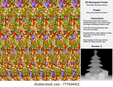 Stereogram with Christmas tree and presents in hidden 3D picture