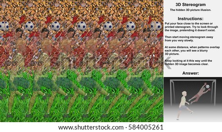 Stereogram illusion with boys playing soccer in hidden 3D picture