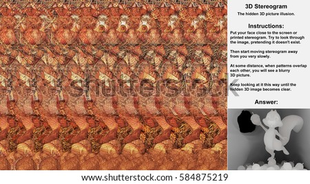 Stereogram illusion with cartoon squirrel standing on pile of acorns inside a tree in hidden 3D picture