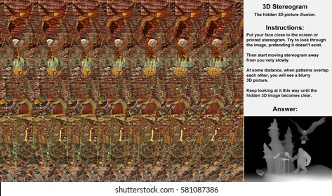 Stereogram illusion with Cyclops, Eagle and Castle in hidden 3D picture. Cyclops is attacking castle while giant eagle is dropping big rock on him.