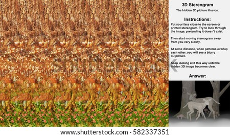 Stereogram illusion with deer in hidden 3D picture