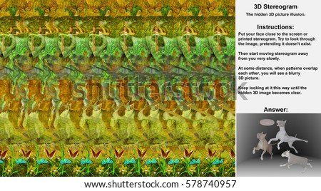 Stereogram illusion with dogs chasing disk in hidden 3D picture