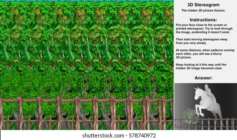 Stereogram illusion with girl riding horse jumping over fence in hidden 3D picture