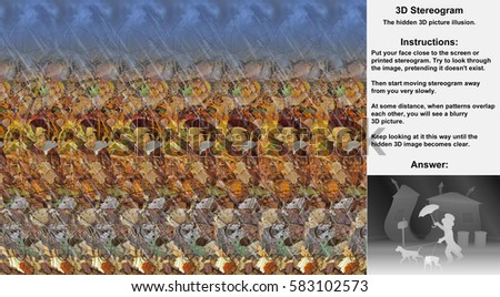 Stereogram illusion with a man in a hat walking two dogs in a rain in hidden 3D picture