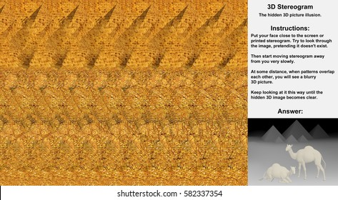 Stereogram illusion with pyramids and camels in hidden 3D picture