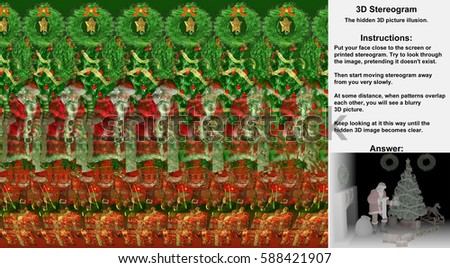 Stereogram illusion with Santa Claus delivering Christmas presents in hidden 3D picture