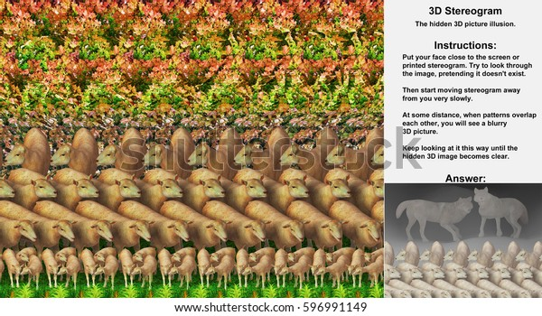 Stereogram illusion with sheep and two wolves in hidden 3D picture