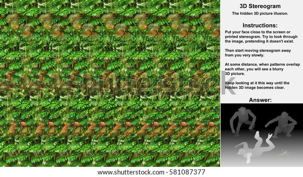 Stereogram illusion with three chimpanzees in hidden 3D picture, one slipped on banana and falling, other laughing.